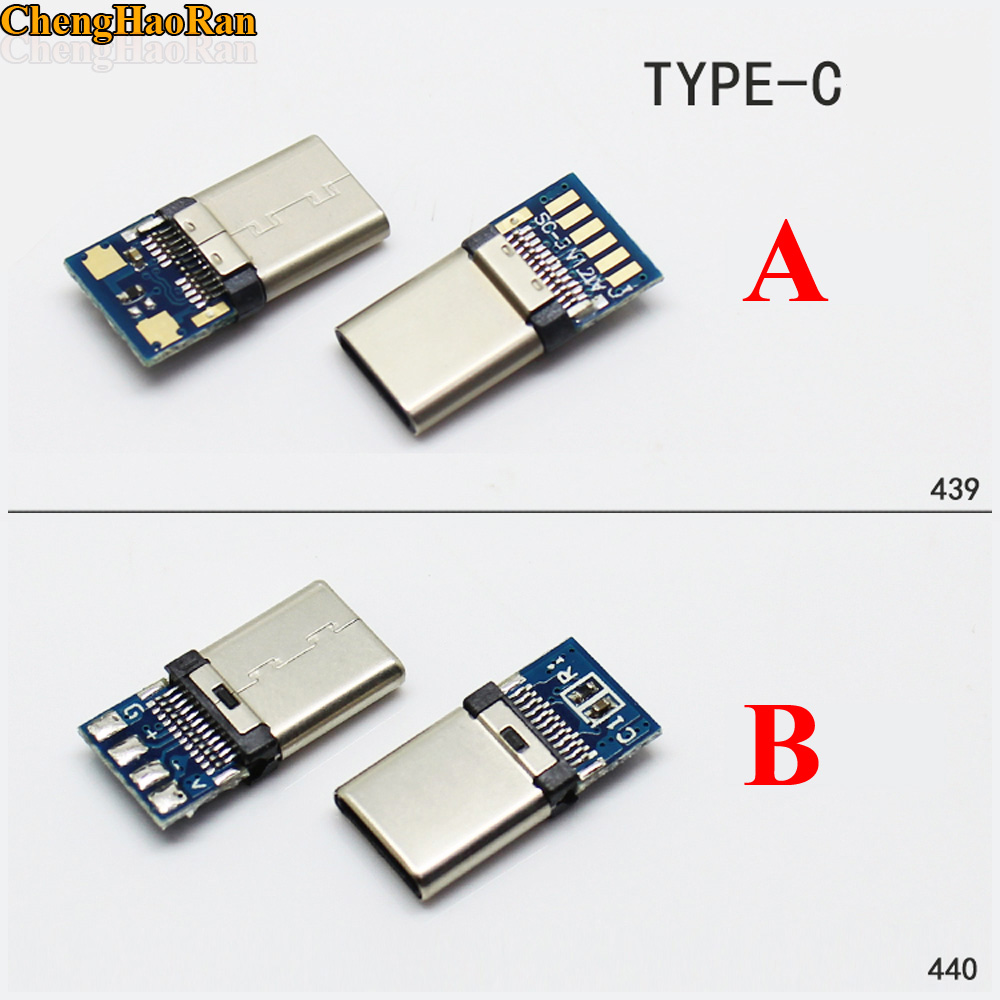 ChengHaoRan DIY OTG USB-3.1 Welding Male Jack Plug USB 3.1 Type C Connector With PCB Board Plugs Data Line Terminals For Android