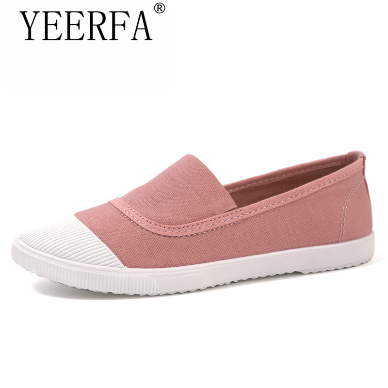 YEERFA Fashion Women Loafers Canvas Shoes Slipony Oxford Flats Heels Breathable Slip on Comfortable Mix-Colors white Black shoes criss cross side slit hollow out sweater
