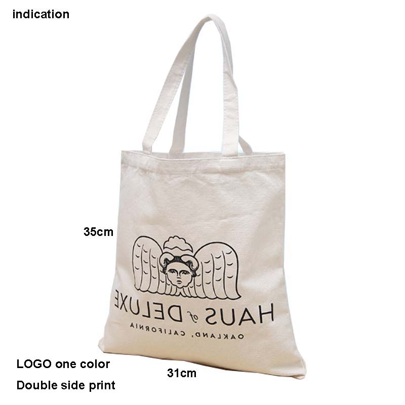 100Pcs Size 35*31Cm Canvas Cotton Tote Bag Customized Logo Eco Company Advertising University Activity