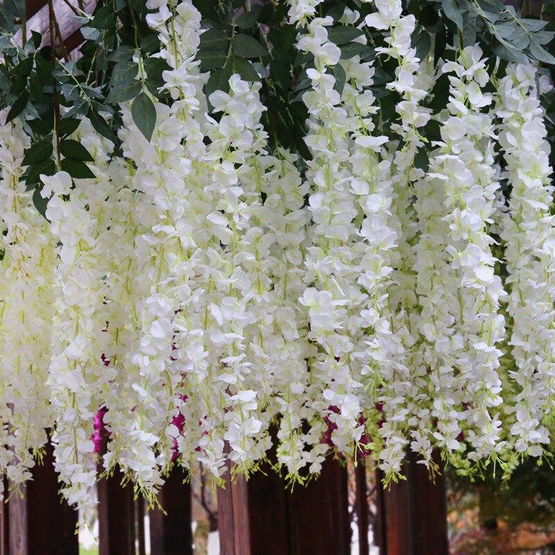 1 pièce 140 cm mariage fleur artificielle chambre faux plastique vigne feuille verte canne glycine haricot fleur décoration Maison Flores