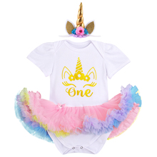 Cute Baby Girls Clothes 1st Birthday Party Cake Smash Outfit 2pcs Short Sleeve Romper Dress & Headband Outfits for Photo Shoot