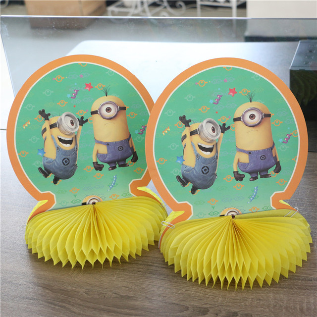 2327cm Minions Honeycomb Table Centerpieces Birthday Decorate Kids Boys Luxury Party Supplies Faovrs