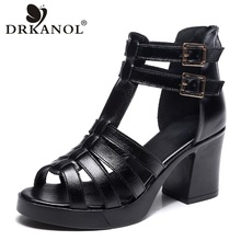 DRKANOL 2019 Cow Leather Women Sandals Black Sexy High Heel Gladiator Sandals Cut-outs Peep Toe Buckle Summer Women Casual Shoes недорого