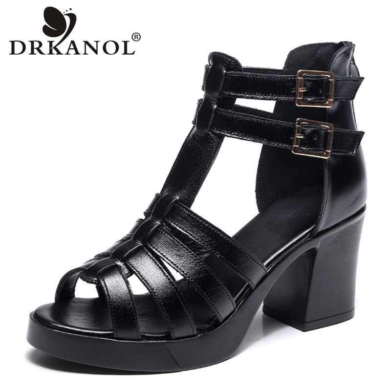DRKANOL 2020 inek deri kadın sandalet siyah seksi yüksek topuk gladyatör sandalet cut-çıkışları Peep Toe toka yaz kadın rahat ayakkabılar