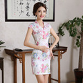 2016 Women Chinese Traditional Cheongsam Short Sleeve Flower Qipao Dress Sexy Party Chinese Elements