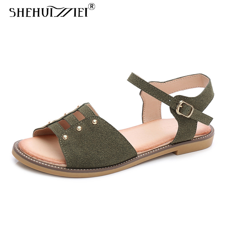 Shehuimei Shoes For Women Sandals Beach Shose Women Comfortable Casual Shoes Leather Women Slippers Summer Shoes Plus Size 10