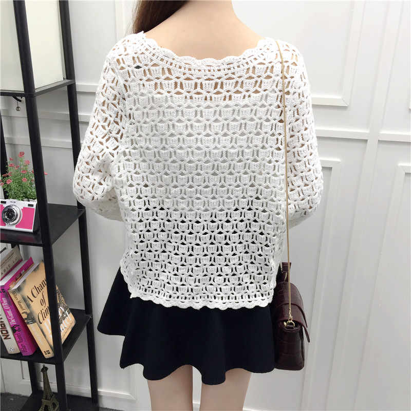 ee27ff7d059348 ... 2019 Spring Summer Crochet White Lace Blouse Women Fashion Tops Sexy Hollow  Out Knitted Cardigan Chemise ...