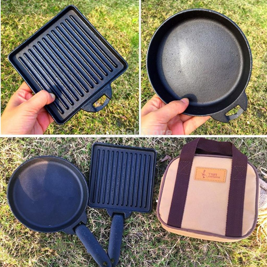 2pcs Small Portable Cast Iron Camping Steak Frying Pan Detachable Skillets Carry Case Outdoor Barbecue Grill