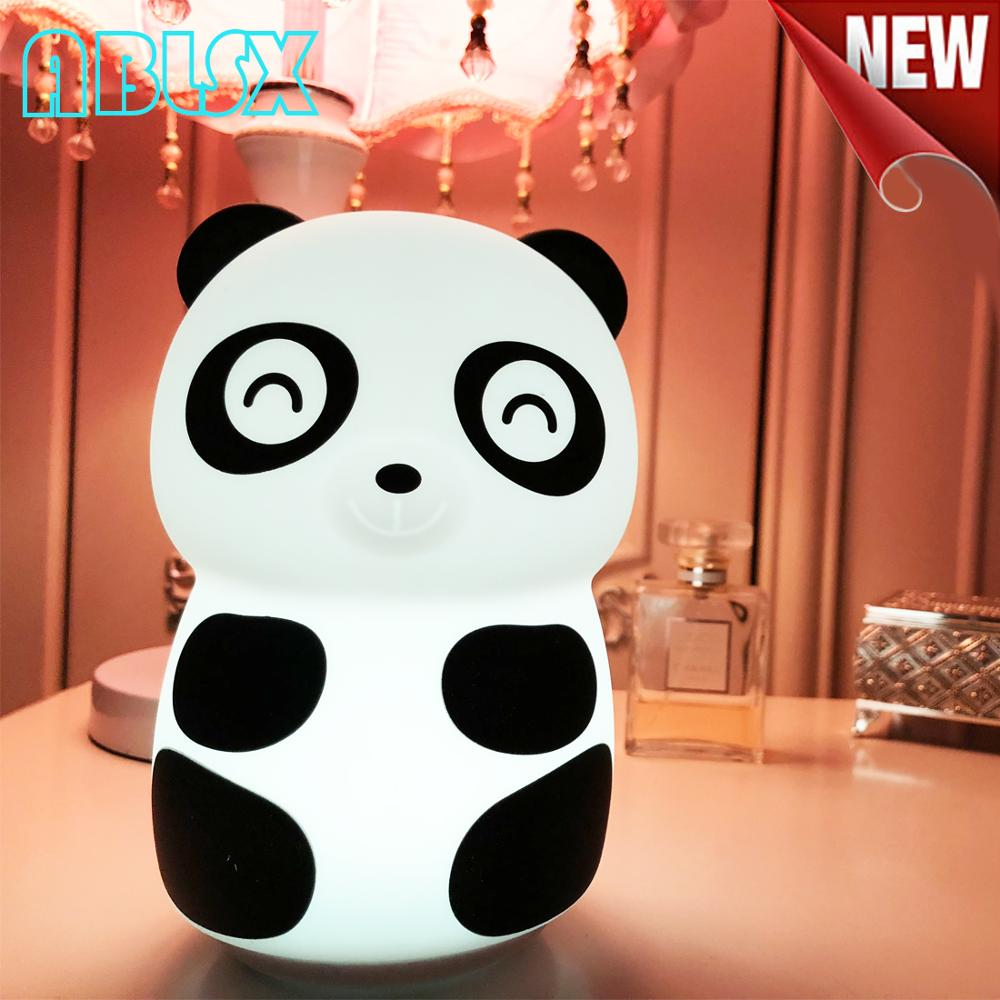 Cute Panda Night Light For Children 7 Color Changed Nightlight Child Usb Beside Lamp Light Control For Bedroom Christmas Xmas