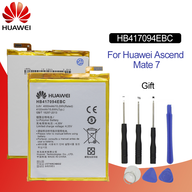 Hua Wei Original Phone Battery HB417094EBC For Huawei Ascend Mate 7 MT7 TL00 TL10 UL00 CL00 4000/4100mAh Battery Free Tools-in Mobile Phone Batteries from Cellphones & Telecommunications
