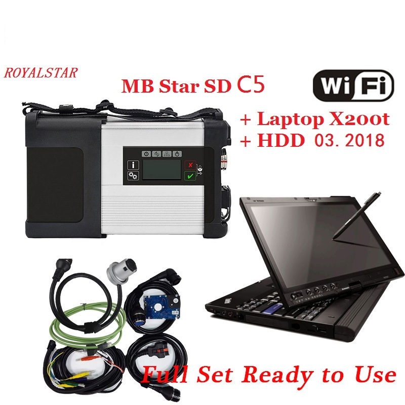 Newest 2018.05 full software MB Star C5 scanner for MB Vehicles with vediamo DTS M8+Laptop X200t support wifi connection