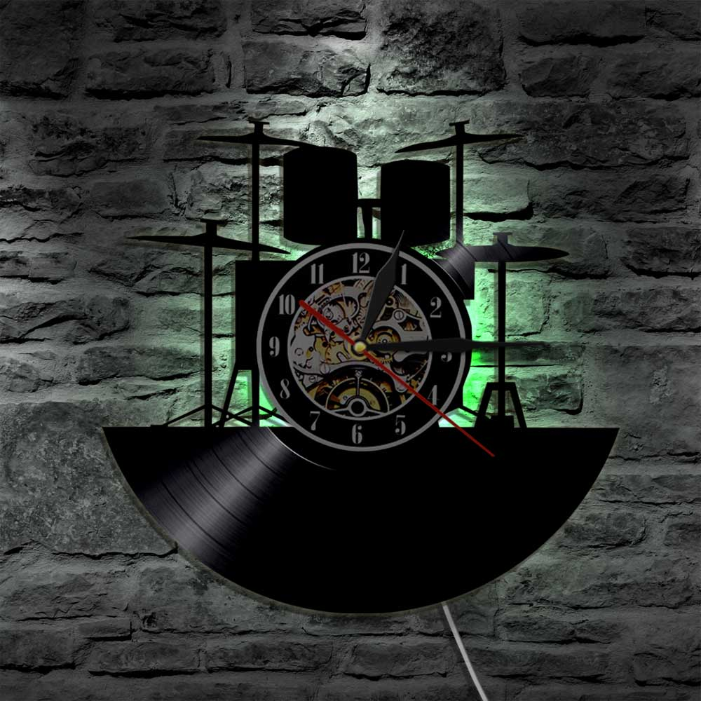 1Piece Drum Kit LED Light Vinyl Record Wall Clock Rock Music Band Drummer Musical Instrument Modern Wall Watch LED Hanging Lamp image