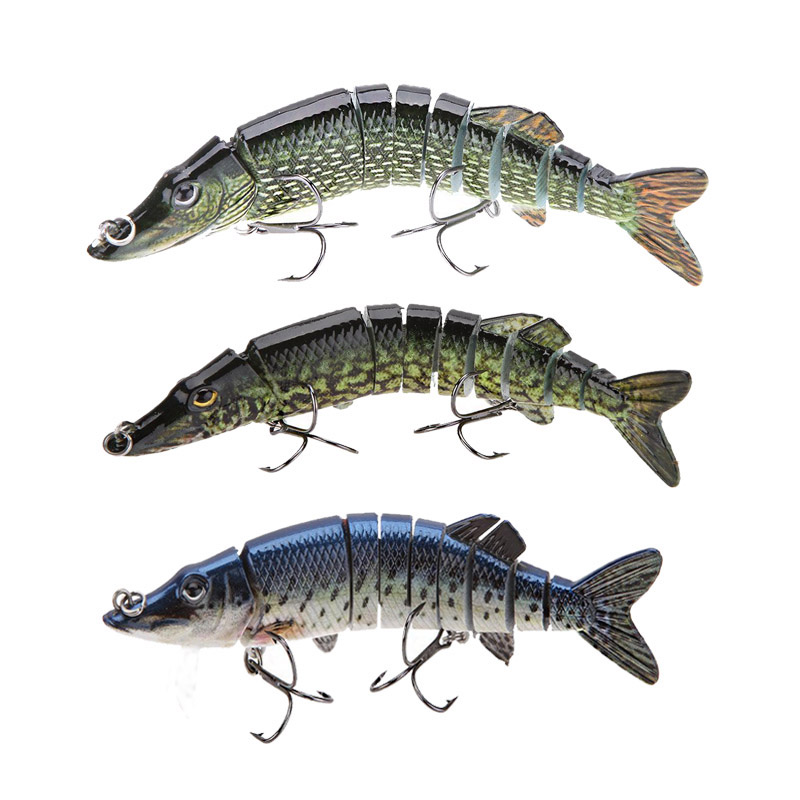 Lifelike multi jointed 9 segement pike muskie fishing lure for Musky fishing lures