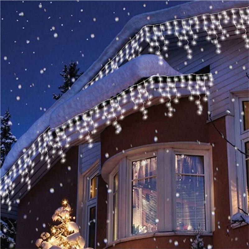 Guirlanda de natal LEVOU Cortina Icicle Luz Cordas 220 v 5 m 96 Leds Queda Indoor LED Garden Party Palco Ao Ar Livre luz decorativa