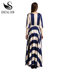 2016 Elegant Women Dress Bohemian O Neck Striped Print Maxi Long Dress Half Sleeve Beach Summer Dresses Plus Size Boho Clothing