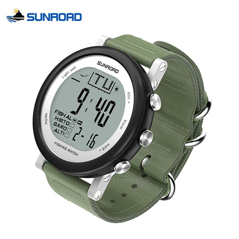 SUNROAD Men Woman Fishing Watch Weather Forecast Waterproof Altimeter Barometer Thermometer Outdoor Climbing Sports Men Watches