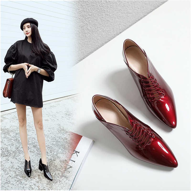Hakiki deri ayakkabı Kadın tek ayakkabı Moda uzunluğu 22-24.5 cm bayanlar İlkbahar Sonbahar pompaları inek deri Parlak sivri burun