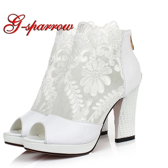 White Lace Flower Peep Toe Boots Woman Chunky Heel Wedding Party Prom Shoes  Fashion All Match 21687a82e7