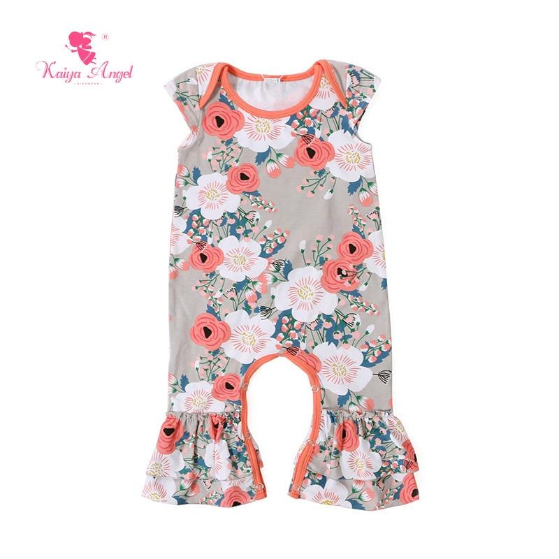 Kaiya Angel Bodysuit 2017 Newborn Baby Girl Clothes Peach Floral Short Sleeve Bodysuits Toddler Newborn Baby