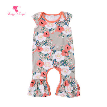 Kaiya Angel Bodysuit 2017 Newborn Baby Girl Clothes Peach Floral Short Sleeve Bodysuits Toddler Newborn Baby Clothes 0-24 Months