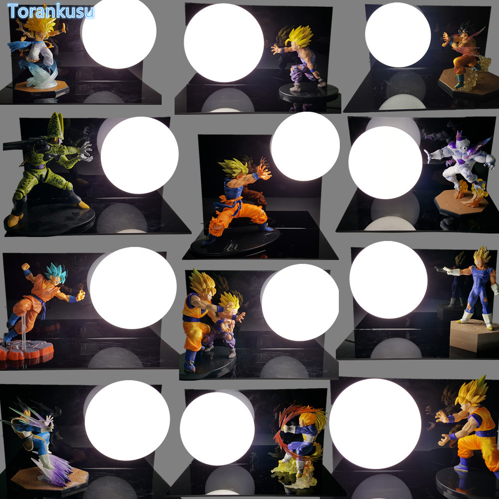 Dragon Ball Z Son Goku Kamehameha Table Lamp Luminaria LED DIY Display Toy Dragonball Freeza Vegeta Cell Gohan Gotenks DIY123 simulation mini golf course display toy set with golf club ball flag