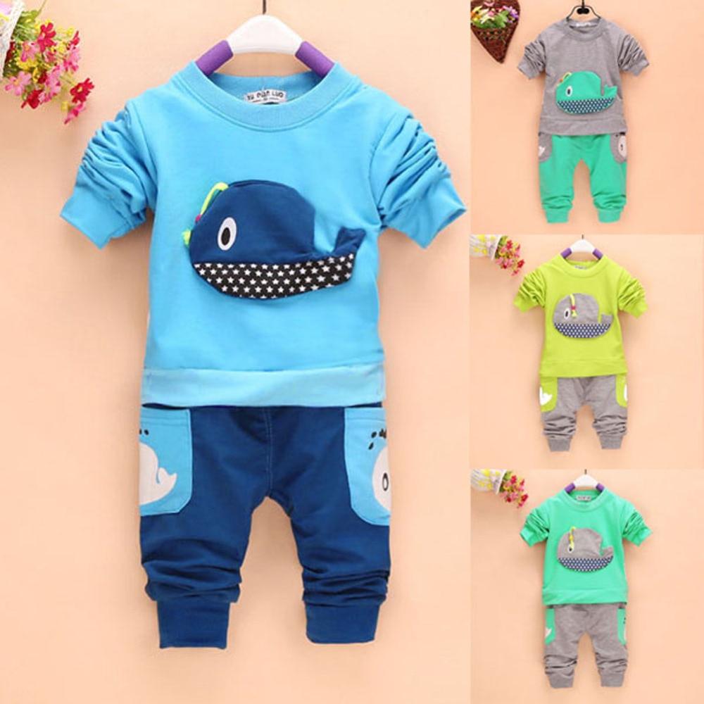 ab8d6c948ba8 BOBORA 2pcs Baby Boys Girls Cartoon Whale Pattern Long Sleeve Tops+Long  Pants Toddler Clothing Outfits