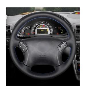 Image 2 - Сшитый вручную черный чехол рулевого колеса автомобиля из искусственной кожи для Mercedes Benz W203 C Class 2001 2007