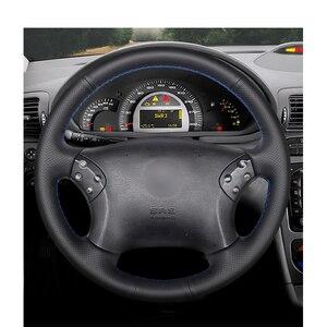 Image 2 - Cucito A mano Nero DELLUNITÀ di elaborazione Artificiale Volante In Pelle Auto Copertura Della Ruota per Mercedes Benz W203 C Classe 2001 2007