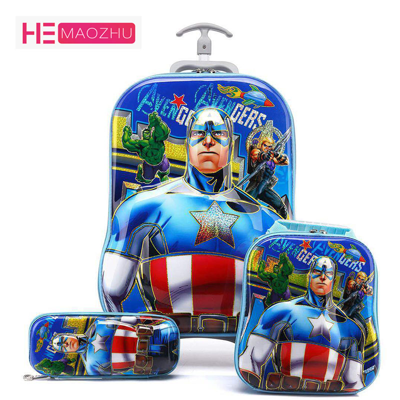 16inch3D Boy Anime Trolley Case Kids Climb The Stairs Luggage Travel Rolling Suitcase Girl Cartoon Pull Rod Box Child Pencil Box