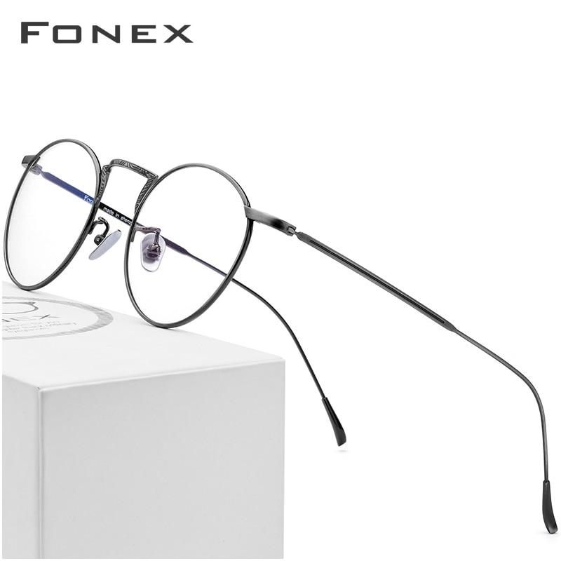 79ae6efee8 Montura de gafas de titanio puro B para mujer 2018 gafas nuevas de  prescripción para hombre gafas redondas Vintage montura óptica de miopía  gafas