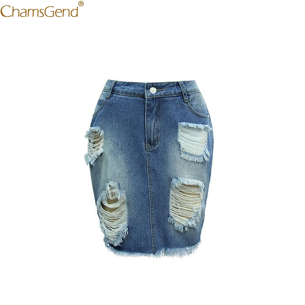 Denim Skirt Women Mini High Blue Casualsummer Skirts Womens Plus Size  Solid Blue Hole High Waist Buttons Short Casual Skirt Jul