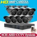 HD 8CH 1080 P Sistema de Seguridad CCTV 8 UNIDS 3000TVL IR Al Aire Libre AHD 1080N 2.0MP Cámaras de Seguridad de Video Vigilancia DVR de 8 canales Kit