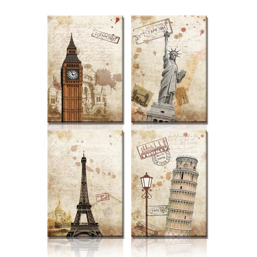 현대 캔버스 아트 홈 장식 사진 벽 그림 캔버스 인쇄 큰 벤 에펠 탑 벽 거실