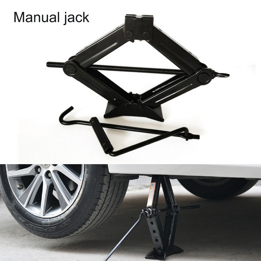 Car Jack General Foldable Handle Scissor Jack 1T Thick Steel Plate Rocker Hand-operated Car Truck Jack Auto Lifting Repair Tool