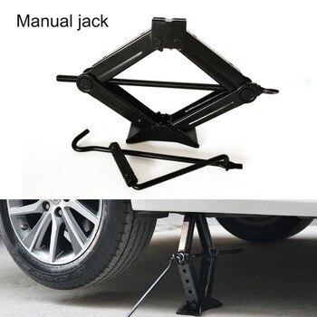 Gato General plegable mango de tijeras Jack 1T placa de acero grueso balancín operado a mano coche camión Jack herramienta de reparación de elevación automática