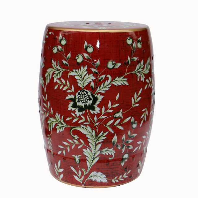 Red Flower Art Jindezhen Dressing Table Ceramic Garden Stool Chinese Ceramic  Drum Stool Bathroom Round Drum Stool In Stools U0026 Ottomans From Furniture On  ...