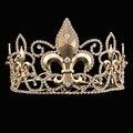 Ретро Золотой Покрытием Ветивер Ирисы Свадебные Стразы Корона Люкс Quinceanera Театрализованное Мужчины Диадемы
