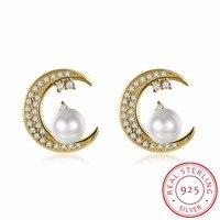 INALIS 925 Sterling Silver 2017 Women Fine Jewelry Cute Tiny Moon Pearl Stud Earrings Brincos De