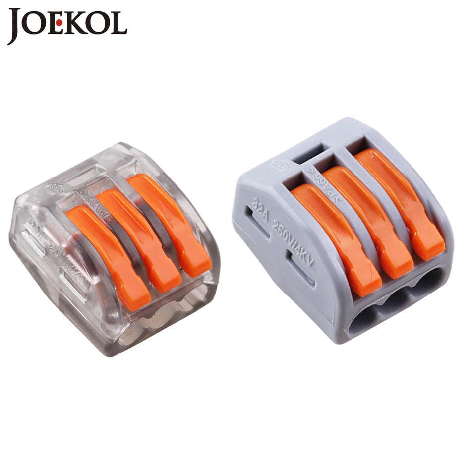 (100pcs/lot) mini fast WAGO Connector 222-413(PCT213) Universal Compact Wire Wiring Connector 3 pin Conductor Terminal Block 10 pieces lot 222 413 universal compact wire wiring connector 3 pin conductor terminal block with lever awg 28 12