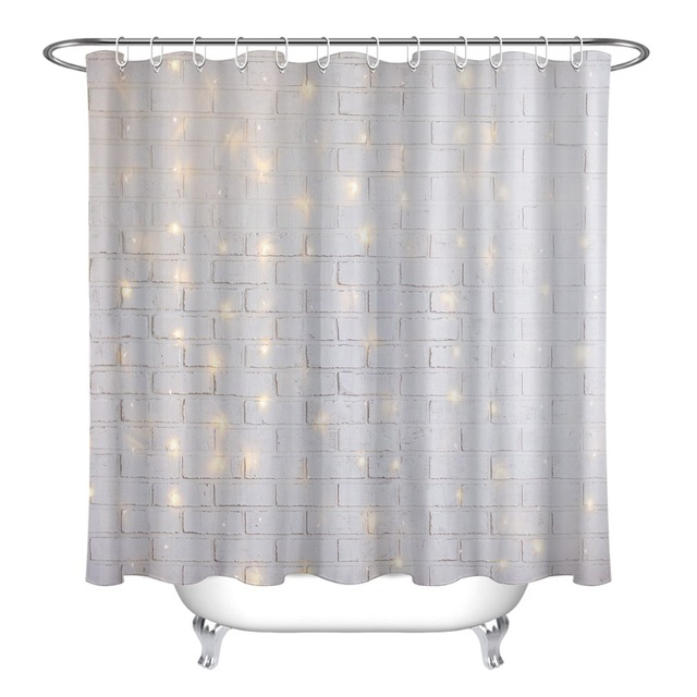 72 White Brick Wall Christmas Backdrop With Shiny Light Bathroom Waterproof Fabric Shower Curtain 12 Hooks Bath Accessory Sets