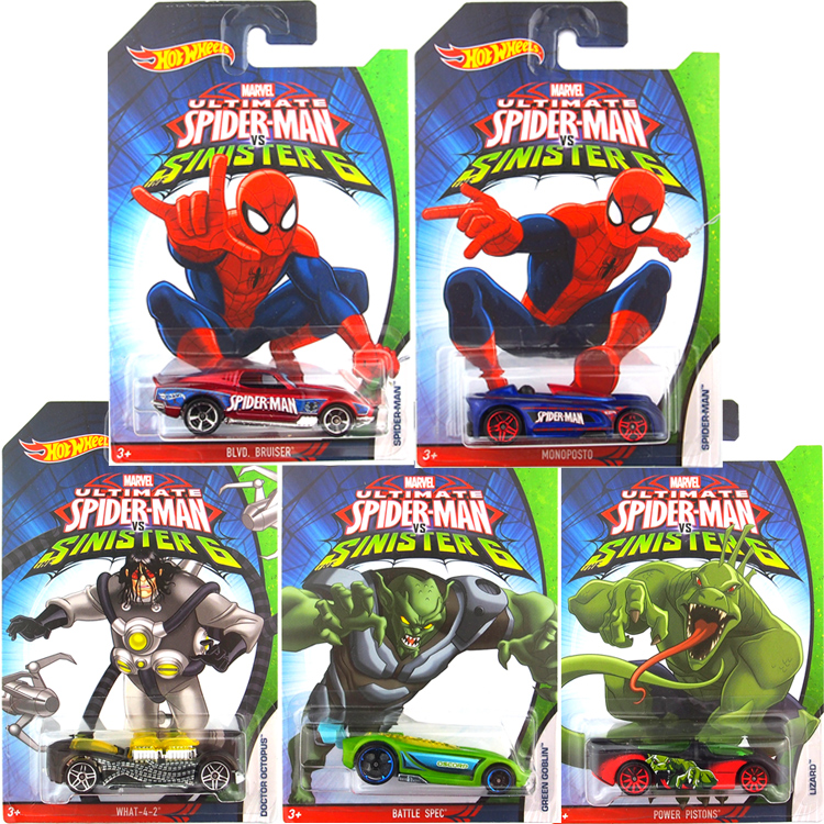 Dutiful Free Shipping 2016 New Spiderman Car 1:64 Alloy Small Car Baby Toy Set Of 5 Classic Cartoon Special Type For Collection