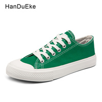 Classic Female Canvas Shoes Women Flats 2018 Spring Black White Green Yellow Casual Sneaker Round Toe