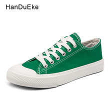 Classic Female Canvas Shoes Women Flats 2018 Spring Black White Green Yellow Casual Sneaker Round Toe Lace Up Large Size 43 44