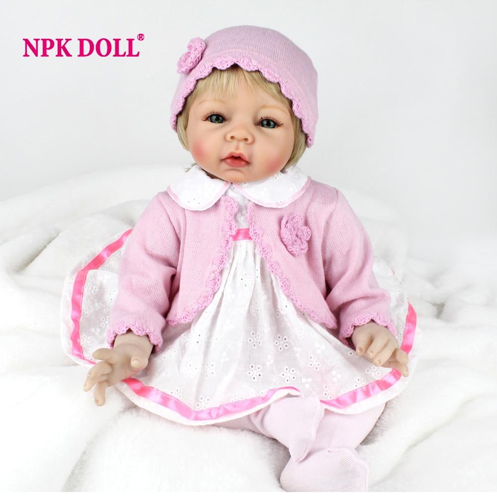 NPKDOLL New 22 Inch 55CM Reborn Baby Doll Soft Body Silicone Girl Lifelike BeBe Reborn Handmade Kits Birthday Toy Pink Princess-in Dolls from Toys & Hobbies    1