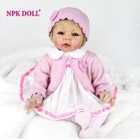 NPKDOLL New 22 Inch 55CM Reborn Baby Doll Soft Body Silicone Girl Lifelike BeBe Reborn Handmade Kits Birthday Toy Pink Princess