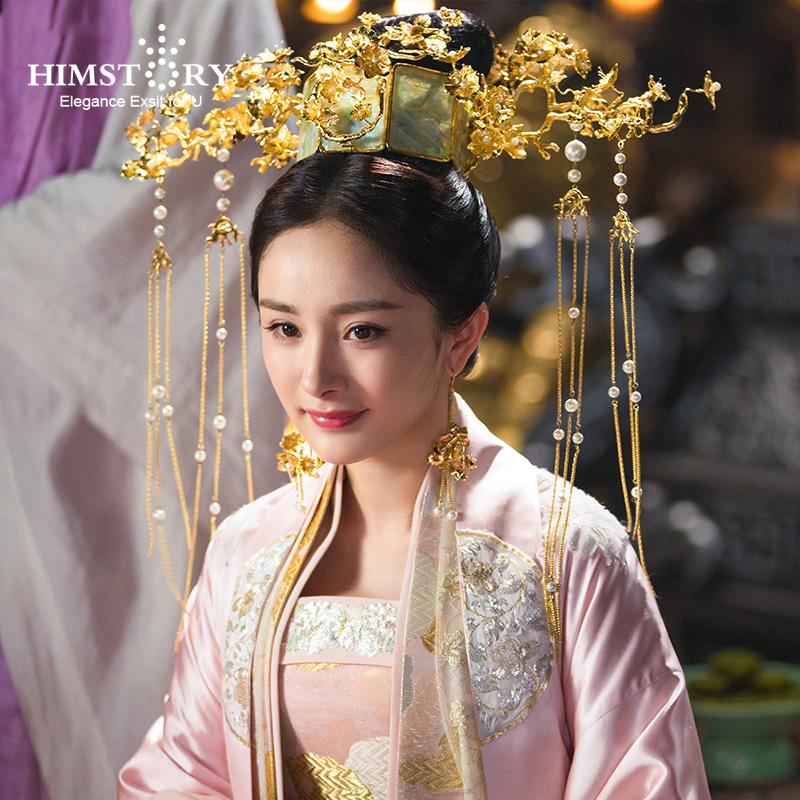 Chinese Ancient Princess Hair Crown Long Tassels Flower Branch Vinatage Chinese Women Headwear Wedding Hair Jewelry black and coffee 2 colors hair tiara ancient chinese emperor or prince costume hair crown piece cosplay use for kids little boy