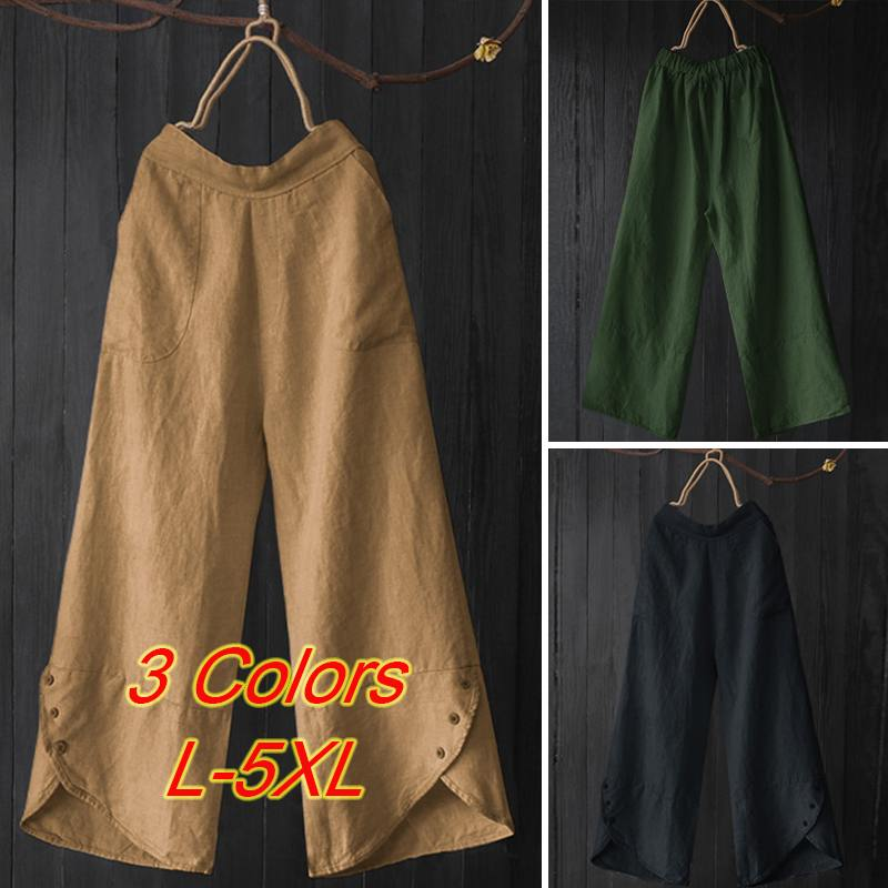 Vintage Solid Button   Wide     Leg     Pants   2019 Women Irregular Loose Pantalon Casual Elastic Waist Work Office Long Trousers Female