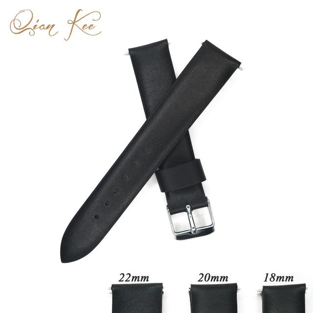 1f23a1729 YQI 16mm 18mm 20mm 22mm correa de reloj de cuero negro correa de cuero  genuino para