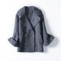 Зимние Для женщин большой Размеры шерстяное пальто атмосферу Двусторонняя пальто женский костюм воротник Труба рукава Полный шерстяное па
