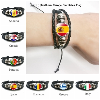 Men Hot Flag Charm Leather Bracelets Sounth European Countries Romania Greece Croatia Italy Spain Portugal Andorra Flag Bracelet image